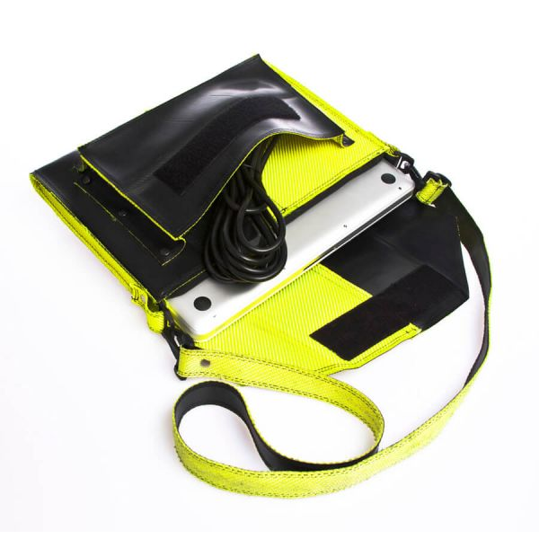 """notebook bag """"Frieda"""" 13"""" fire hose luminous yellow&black with shoulder strap and cable compartment vegan"""